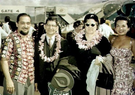 Outdoor lei greeting arrival in Honolulu, late 1950s